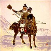 Древне-японский полководец с оги - военным веером
